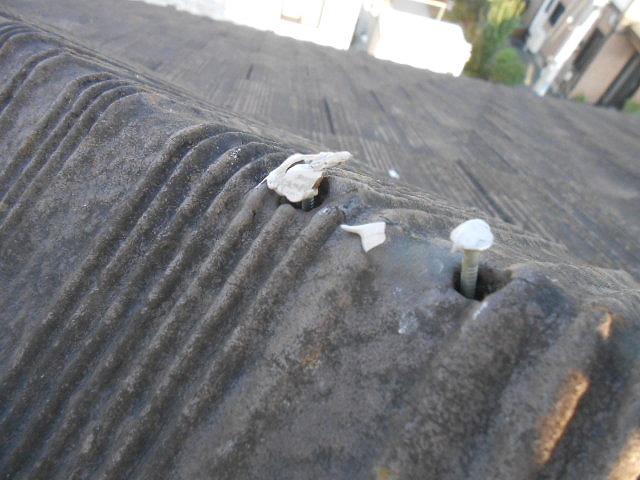 棟瓦の釘の浮き